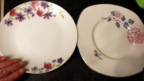 Portion control - the size of a modern side plate in relation to a vintage dinner plate