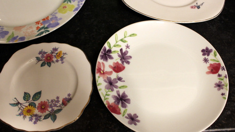 Portion control - the size of a modern side plate in relation to a vintage side plate