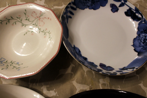 Portion control - the size of a modern shallow bowl in relation to a vintage shallow bowl