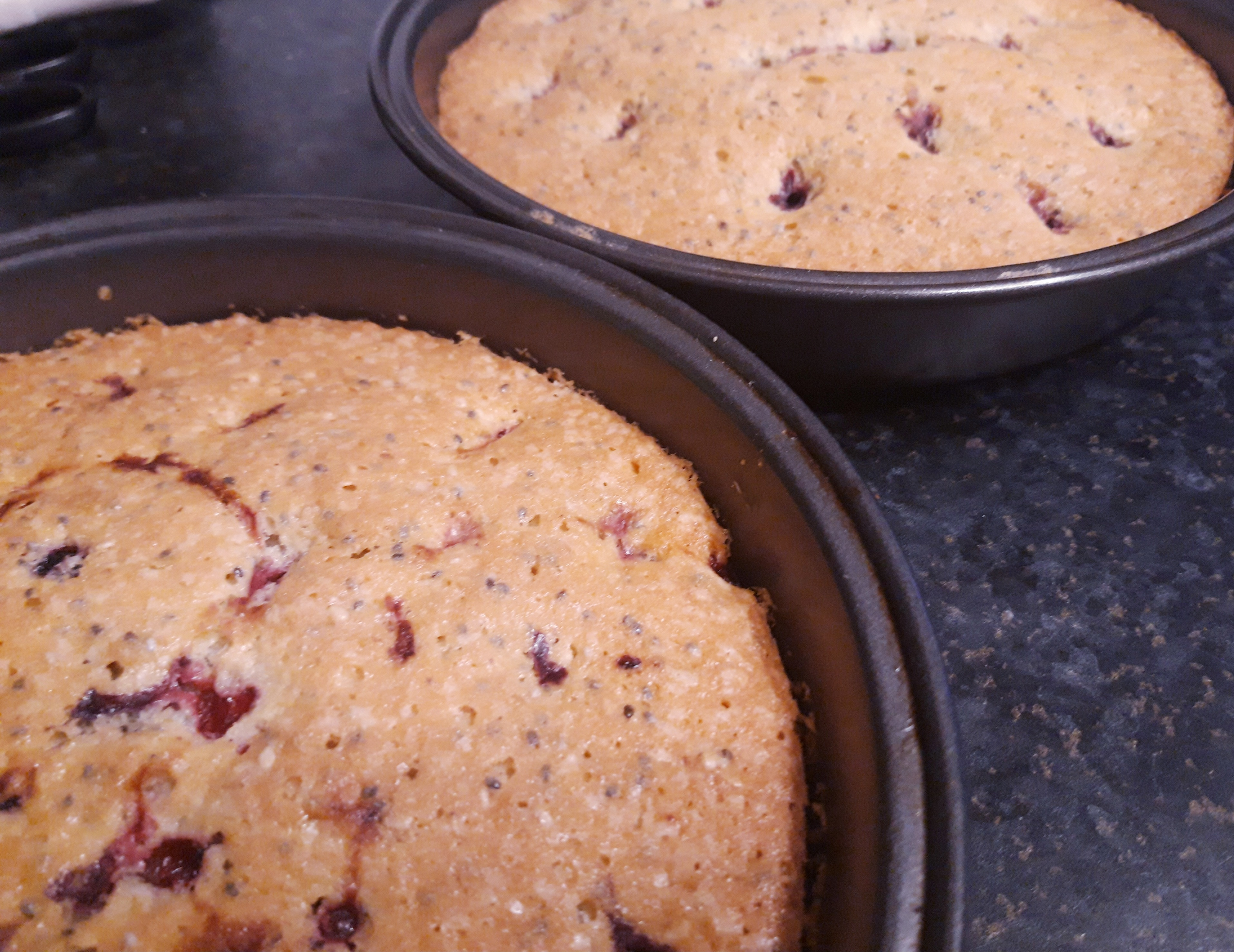 berry cakes straight out of the oven