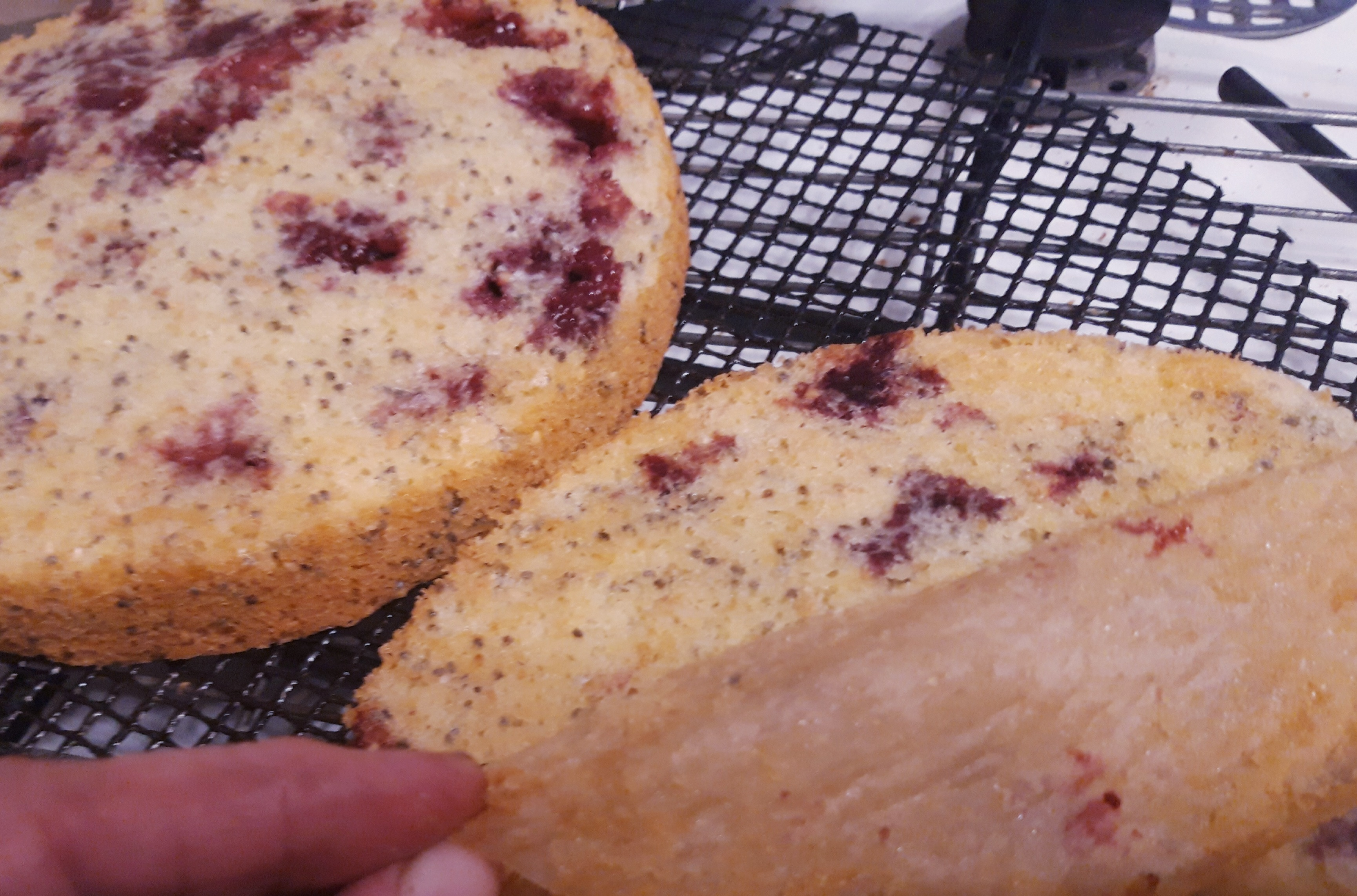 berry cakes straight out of the oven. peeling back the paper