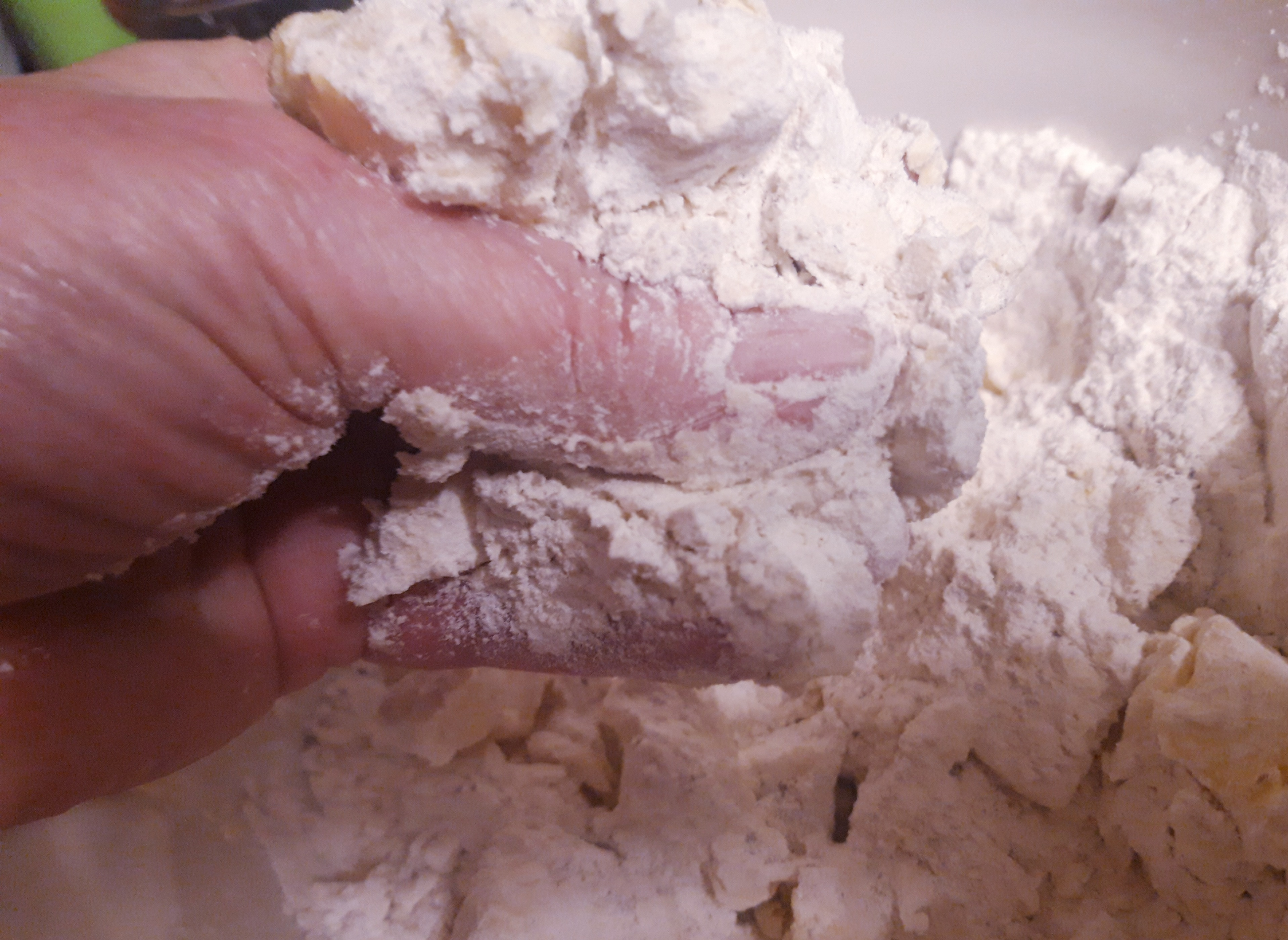 start to rub the fat into the flour to make pastry