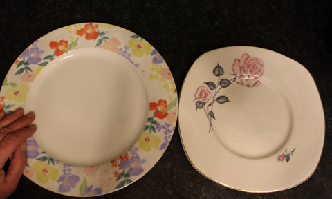 Portion control - the size of a modern plate in relation to a vintage plate