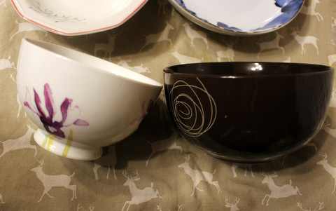 Portion control - the size of a modern soup bowl in relation to a vintage soup bowl