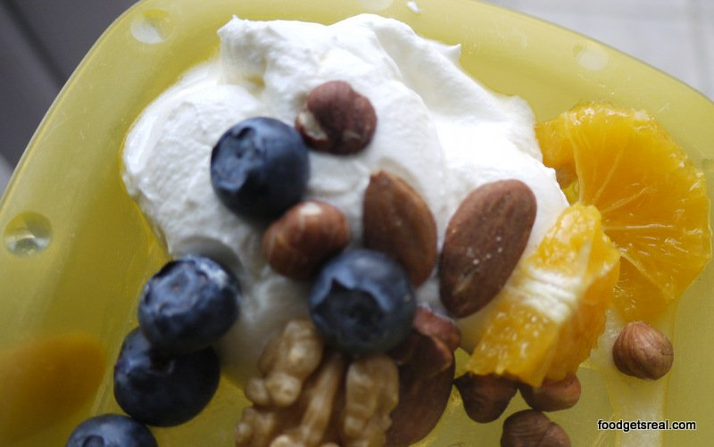 fruit and nuts with yoghurt